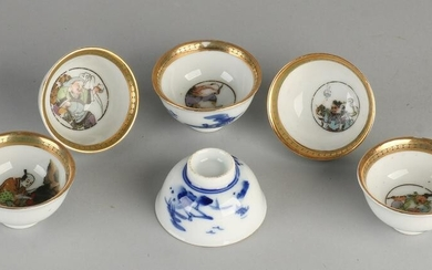 Six Chinese porcelain rice wine cups with landscape