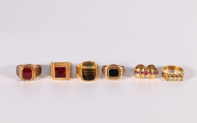 Six gold and other gent's rings variously gem set, one - 585...