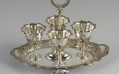 Special silver egg cup set, 925/000, with an oval