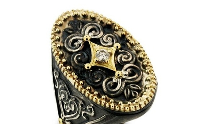 Stambolian Aged Silver & 18K Gold and Diamond Oval Ring