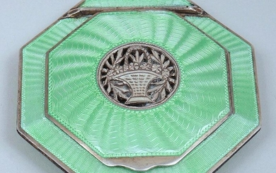 Sterling silver and enamel compact. FR3SH.