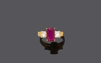 THAI RUBY AND DIAMOND RING.