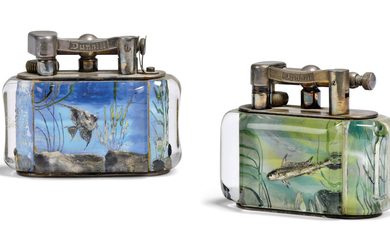 TWO DUNHILL PLATED-METAL AND LUCITE 'AQUARIUM' LIGHTERS, MID-20TH CENTURY