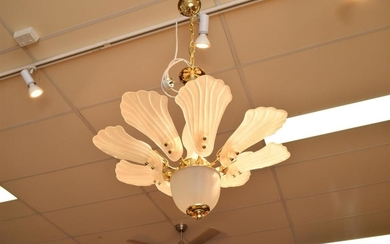 TWO MURANO FROSTED GLASS CHANDELIERS (ONE FLUSH MOUNT)