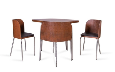Table and 4 chairs called Fusion Steel, bois 75 x...