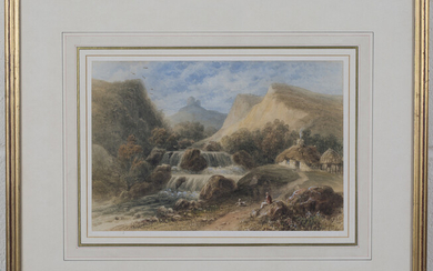 Thomas Hosmer Shepherd - 'A Cottage by a Waterfall', watercolour, signed recto, Sussex Fin