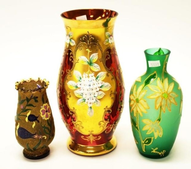 Three vintage hand painted glass vases including cameo glass...
