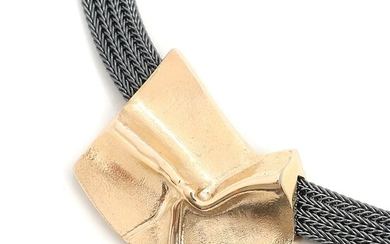 SOLD. Toftegaard: An oxidized sterling silver necklace with a 14k gold pendant. L. 45 cm....