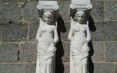 Two caryatids (2) - french sandstone. - 20th century