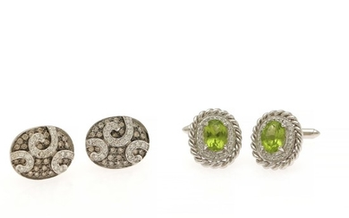 Two pair of cuff links respectively set with an oval-cut peridot encircled by numerous diamonds and numerous white and cognac-coloured diamonds, mounted in 14k