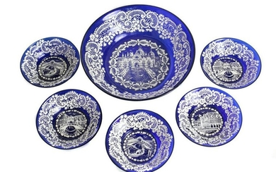 Venetian Lace Enameled Glass Berry Bowl Service for 5
