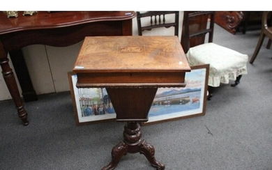 Victorian Walnut Sewing Table with Inlaid Decoration and Lif...