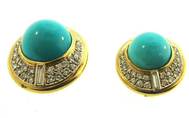 Vintage 14k Yellow Gold Diamond and Turquoise Round