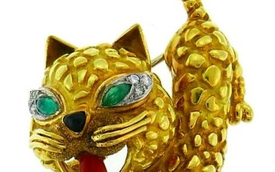 Yellow Gold CAT Pin BROOCH Clip with Coral Emerald and