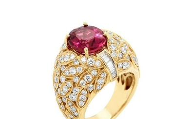 Yellow Gold and Diamond Ring with Rubellite Tourmaline