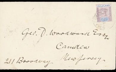 Zululand Covers and Cancellations Lower Tugela 1897 (June) envelope to U.S.A. bearing 2½d. with...