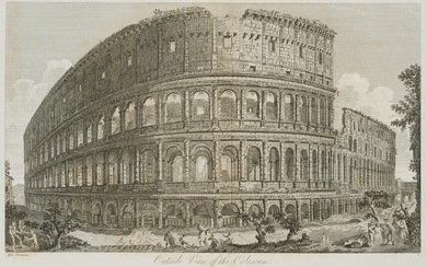 after Giovanni Battista Piranesi (1720-1778), Outside View of the Coloseum', Frontal view of the amphitheatre of Rome, 19th century, Etching