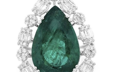 12.6 tcw Emerald Baguette Natural Diamond Ring in 18K