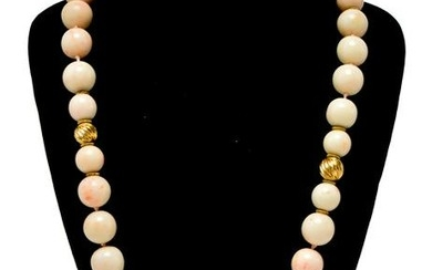 14K Yellow Gold & Angel Skin Coral Beads Necklace