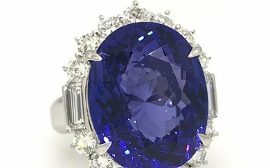 16.55 ct Oval Shaped Tanzanite and Diamond Cocktail