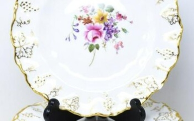 17 Royal Crown Derby Gold Vine Ruffled Plates