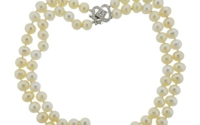 18K Gold Diamond Pearl Double Strand Necklace
