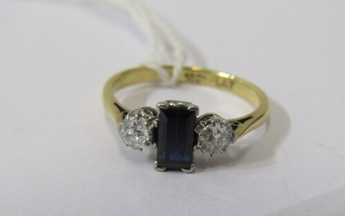 18ct YELLOW GOLD DARK BLUE SAPPHIRE & DIAMOND 3 STONE RING, ...