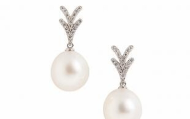 18kt White Gold, South Sea Pearl, and Diamond Earrings