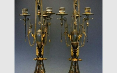 19C FRENCH EMPIRE GILT BRONZE 3 LIGHT CHERUB CANDELABRA