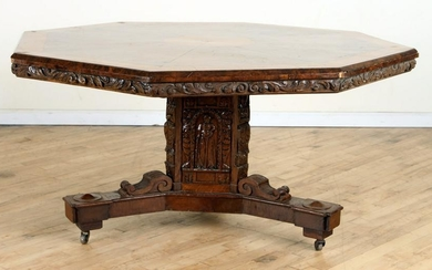 19TH C CARVED OAK & BURL WALNUT OCTAGONAL TABLE