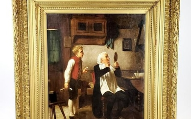 "19th C. Mark William Langois Signed ""The Barber"" Oil on"