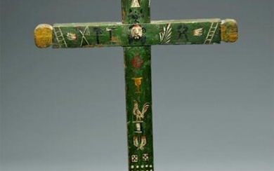 19th C. Mexican Painted Wood Cross - Folk Art Style