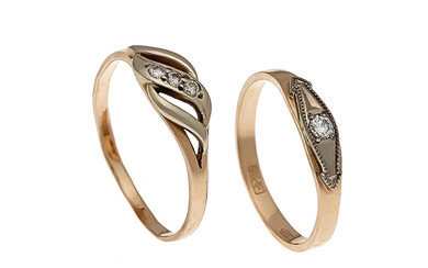 2 brilliant rings RG 585/000 with 4 brilliants,...