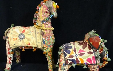 2 INDIAN FABRIC ANIMALS HORSE & ELEPHANT