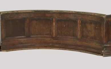 """(3) Curved walnut architectural panels, 142""""w"""