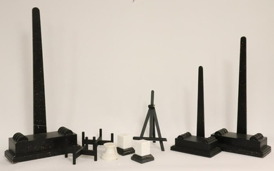 3 Marble Socles & 6 Wood Stands