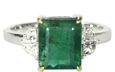 3.42 tcw Emerald Natural Diamond Ring in 18K White Gold