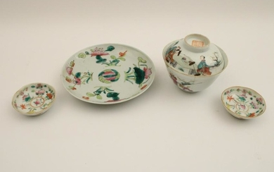4 pc lot of Chinese Qing dynasty porcelain