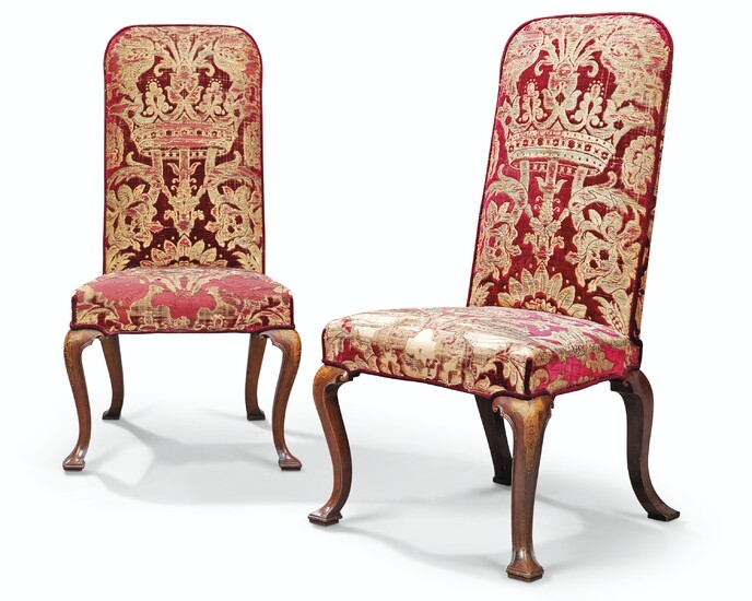 A PAIR OF GEORGE I WALNUT AND MARQUETRY SIDE CHAIRS, EARLY 18TH CENTURY