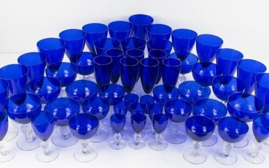 55 Pcs. Morgantown Golf Ball Cobalt Stemware