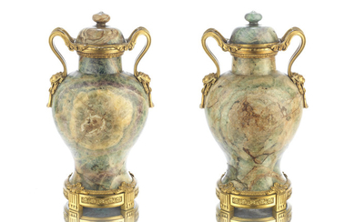 A Pair of 19th century French gilt bronze and green 'Spath-Fluor' fluorite garniture vases and covers