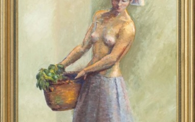 "AMERICAN SCHOOL, Mid- to Late 20th Century, A topless female carrying a basket., Oil on canvas, 24"" x 36"". Framed 41"" x 29""."