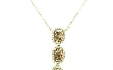 750 18K Rose Gold Diamond Y Chain Necklace