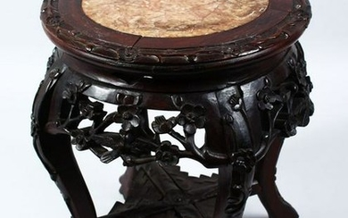 A 19TH CENTURY CHINESE CARVED HARDWOOD & MARBLE TOP