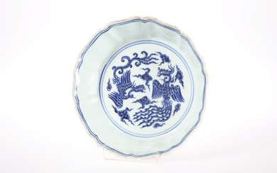 A CHINESE BLUE AND WHITE DOUBLE PHOENIX BOWL, of shaped