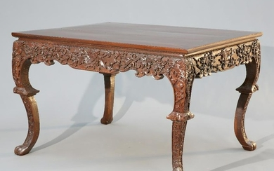 A CHINESE CARVED HARDWOOD TABLE, CIRCA 1900, the square
