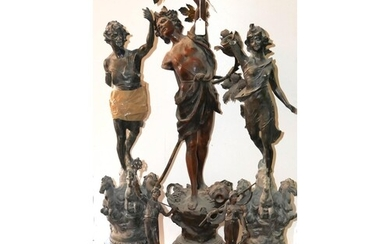 A COLLECTION OF LATE 19TH CENTURY FRENCH SPELTER STATUES.