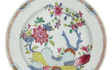 A Chinese export porcelain 'Tobacco Leaf'-style plate, late 18th century...