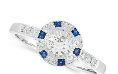 A DIAMOND AND SAPPHIRE TARGET RING in 18ct white gold