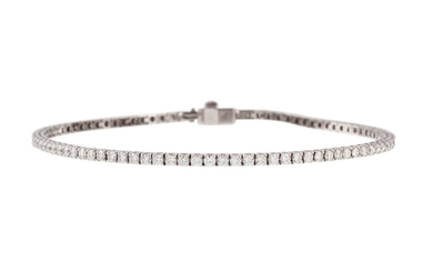 A DIAMOND LINE BRACELET, with diamonds of 2.80ct in total, m...
